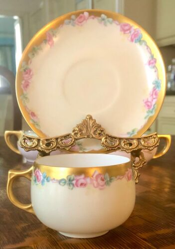 Jaeger & Co - J&C Bavaria Hand Painted Roses Tea Cup & Saucer Signed