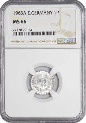 1963 A MS66 East Germany 1 Pfennig UNC NGC KM# 8.1 TOP GRADED