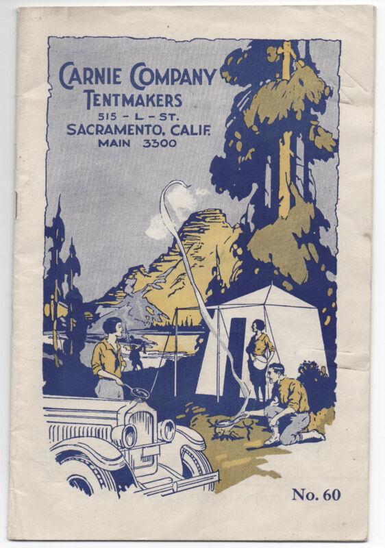 1930 Trade Catalog for Carnie Company Sacramento Tent Makers & Camping Items