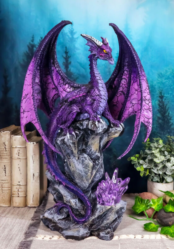 Large Hoarfrost Twilight Dragon Guarding LED Light Crystal Elements Statue