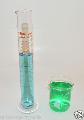 2 Beakers 250ml 2 Cylinders 250ml Set Borosilicate Glass Lab Glass Griffin New