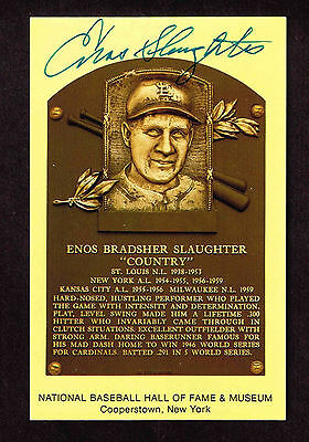 ENOS SLAUGHTER SIGNED Hall Fame Plaque HOF Yellow  Postcard Autographed  COA