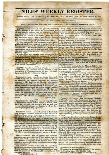 1829 NILES WEEKLY NEWSPAPER REGISTER BALTIMORE MD 12PG PENNSYLVANIA CANAL