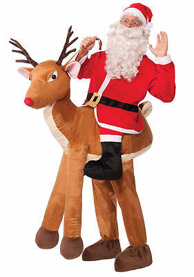 Santa Ride On A Reindeer Adult Costume Christmas Halloween Men Women Mascot New (Women Reindeer Costume)