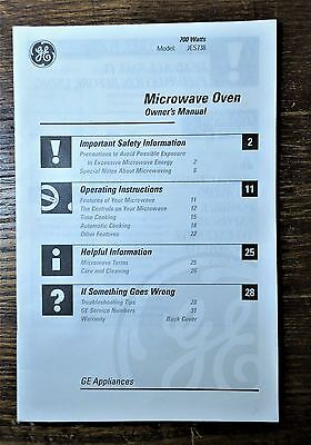 General Electric Model JES738 Microwave Oven Owner's Instruction Manual (Manual Microwave)