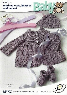 Free Crochet Bootie Pattern - VAT Free Hand Knitting Pattern 4ply Baby Matinee Jacket Coat Hat Boots BHKC47