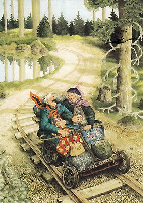 Kunstkarte: Inge Löök - Frauen fahren mit der Draisine / Nr. 56