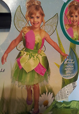 Disney Fairies Tinker Bell Deluxe Costume Dress Size M 7-8 Wings Ages 7+ Pretend
