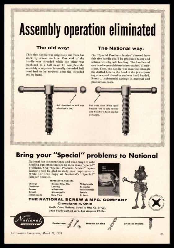 1955 National Screw & Manufacturing Co. Cleveland Ohio Robot Vintage Print Ad