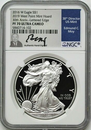2016 W $1 Proof Silver Eagle 2019 West Point Mint Hoard NGC PF70 UCAM Edmund Moy