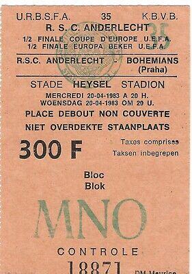 Ticket: Anderlecht - Bohemians Prague Praha UEFA (20-4-83)