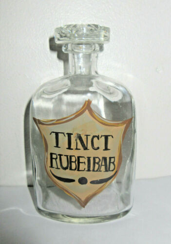 Apothecary Bottle Jar Pharmacy Medicine Glass Stopper Painted Label RUBEIBAB