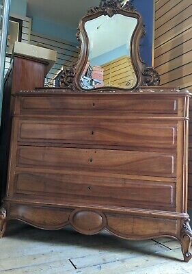 French Marble Top Lockable Chest of Drawers / Dressing Table Mirror Washstand
