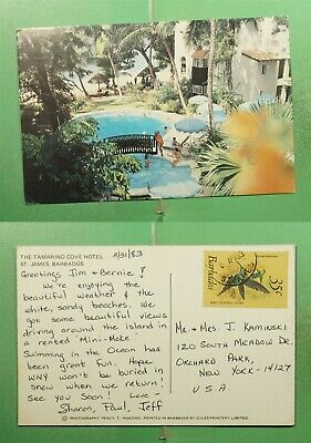 DR WHO 1983 BARBADOS TAMARIND COVER HOTEL POSTCARD TO USA  g13821