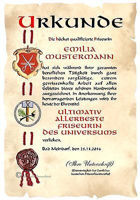 XXL Urkunde  FRISEURIN DIN A3 (!!!)  HW  Diplom  Jubiläum Geburtstag