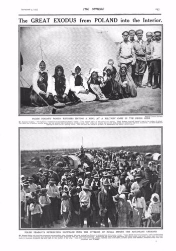 1915 ANTIQUE PRINT - WW1- THE GREAT EXODUS FROM POLAND INTO THE INTERIOR