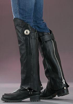 (Motorcycle Unisex Leather Half Chaps (Gators) Both Plain & w/ Fringe Versions)