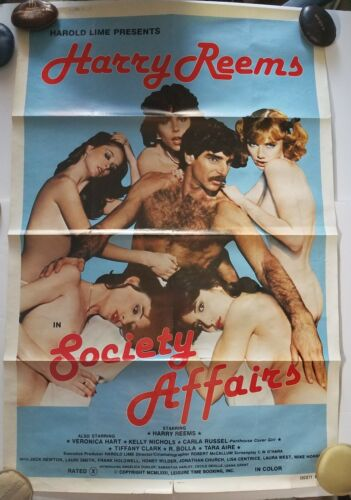 Harry Reems in Society Affairs (1982) RATED ⨂ ORIGINAL Folded Movie Poster 41x27