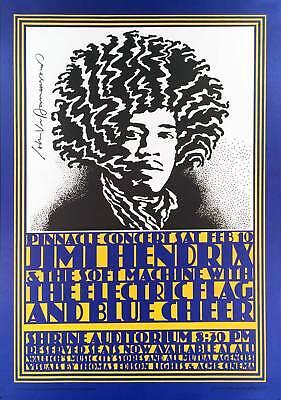 Jimi Hendrix Poster Shrine Auditorium 4th Print Hand-Signed John Van Hamersveld