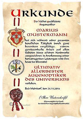Urkunde AUGENOPTIKER DIN A4  HW Diplom  Arbeits- Geschäfts- Jubiläum