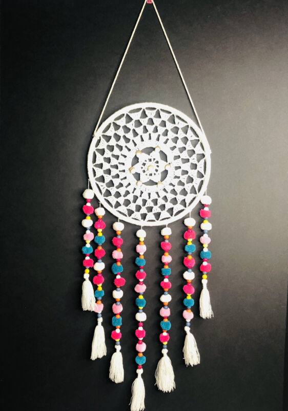 """Handcrafted Dream Catcher, Macrame Woven Boho Wall Decor Tapestry 33""""L"""