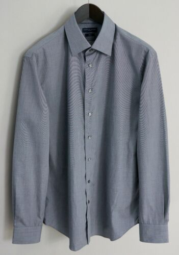 Men Tommy Hilfiger Tailored Formal Shirt Fitted Blue Cotton 41 16 MJA182