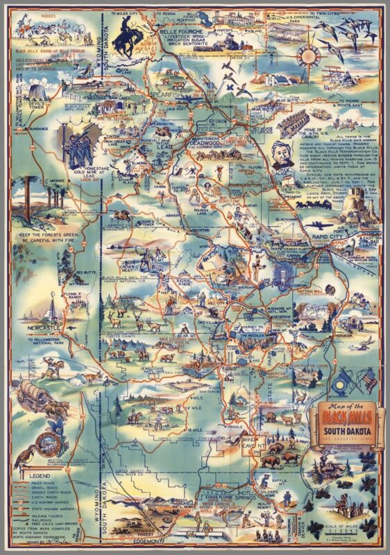 1940 pictorial map Black Hills of South Dakota The Sunshine State POSTER 8810001