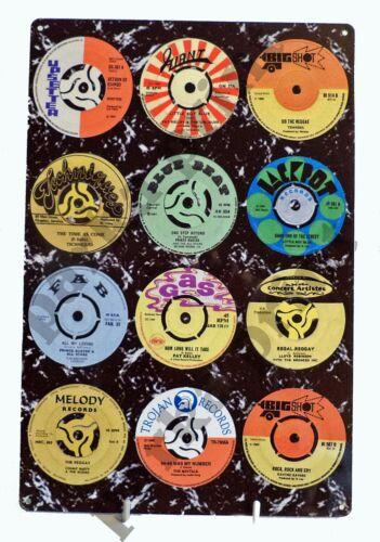 Ska Reggae Metal Sign, Trojan Reggae Rocksteady Records Sign, Scooter Sign