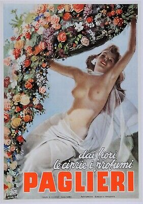 "Original Vintage Italian Poster ""Paglieri"" Perfume by Gino Boccasile 1930's"