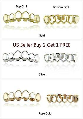 Halloween Exposed Teeth (Hip Hop Teeth Grillz Vampire Halloween Top Bottom Open face 14K Gold Silver)
