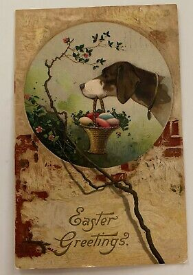 Easter Postcard Humanized Dog with Basket of Eggs Germany