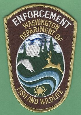 WASHINGTON STATE FISH AND WILDLIFE  ENFORCEMENT POLICE PATCH BROWN