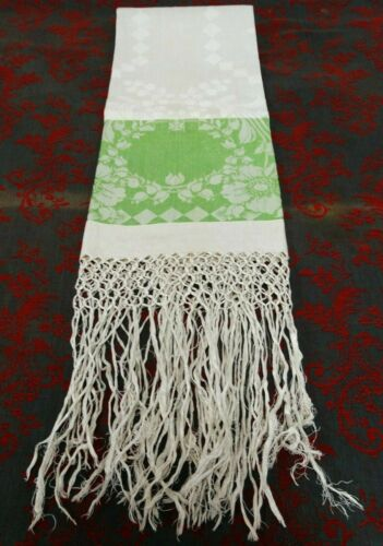 Antique Emerald Green Linen Damask Towel Fringed Show Towel