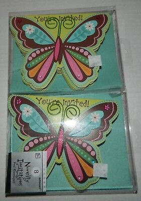 NOVELTY INVITATIONS Lot of 2 BOHO BUTTERFLY HIPPIE CHICK BIRTHDAY PARTY 16 Total](Butterfly Birthday Invitations)