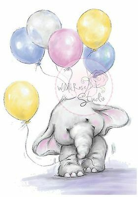 Elephant Bella Balloons Clear Unmounted Rubber Stamp Wild Rose Studio CL227 New
