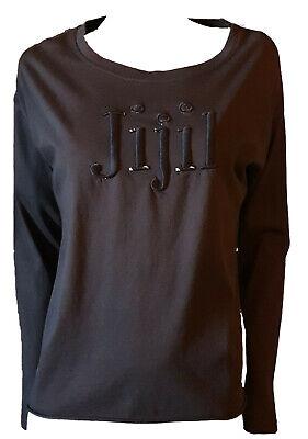 Knit Shirt Long Sleeve T-Shirt Woman Back Shiny Brown Logo Embroidery M