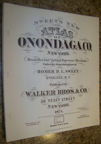 1874 ONONDAGA COUNTY NY ATLAS MAP SYRACUSE DEWITT SKANEATELES CLAY 1973 REPRINT