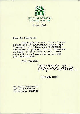 Michael Foot - House of Commons Leader Original Autographed 1985 Signed Letter