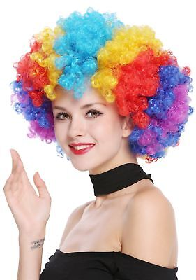 Perücke Afroperücke Afro 70er Jahre Regenbogen Riesig Bunt Funky Disco Clown