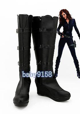 Iron Man Costume Boots (Iron Man 2 Black Widow Cosplay Shoes Boots Custom Made)