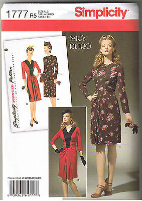 Vintage 40s Retro Dress Front Inset V Neck Ruching Sewing Pattern 6 8 10 12 14
