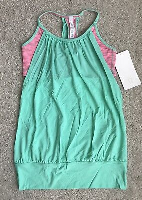 NEW Lululemon Yoga No Limits Tank Top With Bra Size 6 Neon Pink Opal Green
