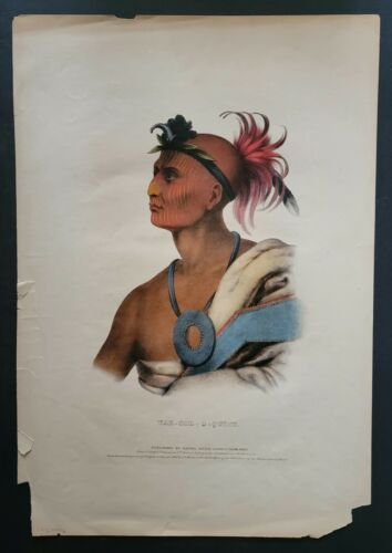 Orig. 1842 TAH-COL-O-QUOIT Lithograph w/Applied Watercolor ❦ Rice & Clark Phila.