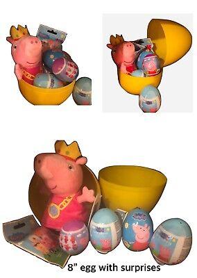 """1 New Jumbo Egg 8"""" PEPPA PIG PLASTIC SURPRISE EGG WITH SURPRISES INSIDE (Jumbo Plastic Egg)"""
