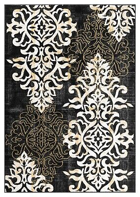 Black Transitional Rug - Damask Beautiful Classic / Transitional Black Area Rug