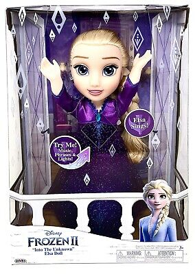 """Disney Frozen 2 II Into The Unknown Singing Feature Elsa 14"""" Doll"""