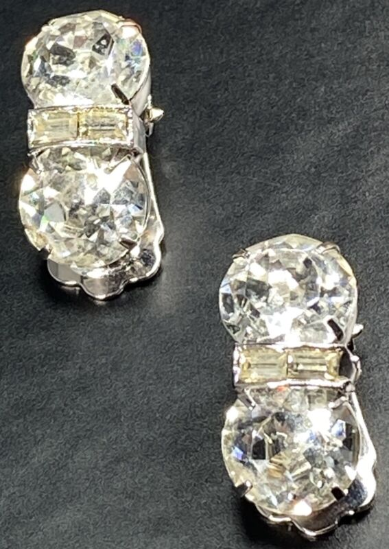 "WEISS Signed Vintage Clip Earrings 1"" Crystal Faceted Rhinestones Silver Tone"