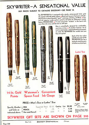 1939 PAPER AD 4 PG COLOR Skywriter Fountain Pen Waterman Store Display