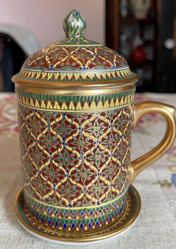Benjarong Fine Bone China Patra Pattern Mug Cup w Dish Lid Hand Painted Thailand