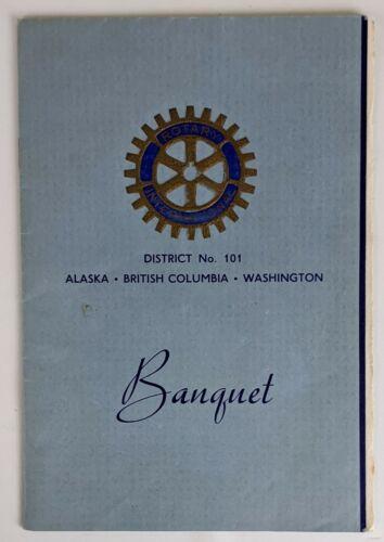 1946 Rotary International District 101 AL WA BC Vancouver Banquet Program Menu